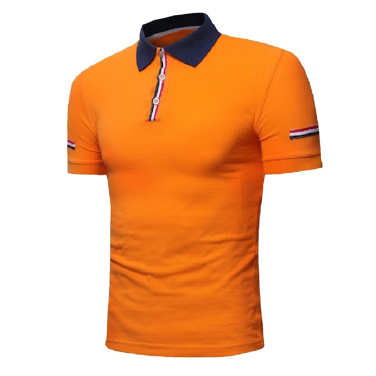 Howme Mens Tees Short Sleeve Juniors Stitch Basic Cotton Polo Shirts