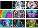 "9x Fabric Poster Psychedelic Trippy Colorful Trippy Surreal Abstract Astral Digital Wall Art Prints 20x13"" (50x33cm) (1-9)"