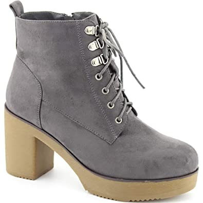 722ac6fa6ca Women s Booties Block Heel Cleated Sole Lace up Platform Ankle Boots GD02  Grey 6