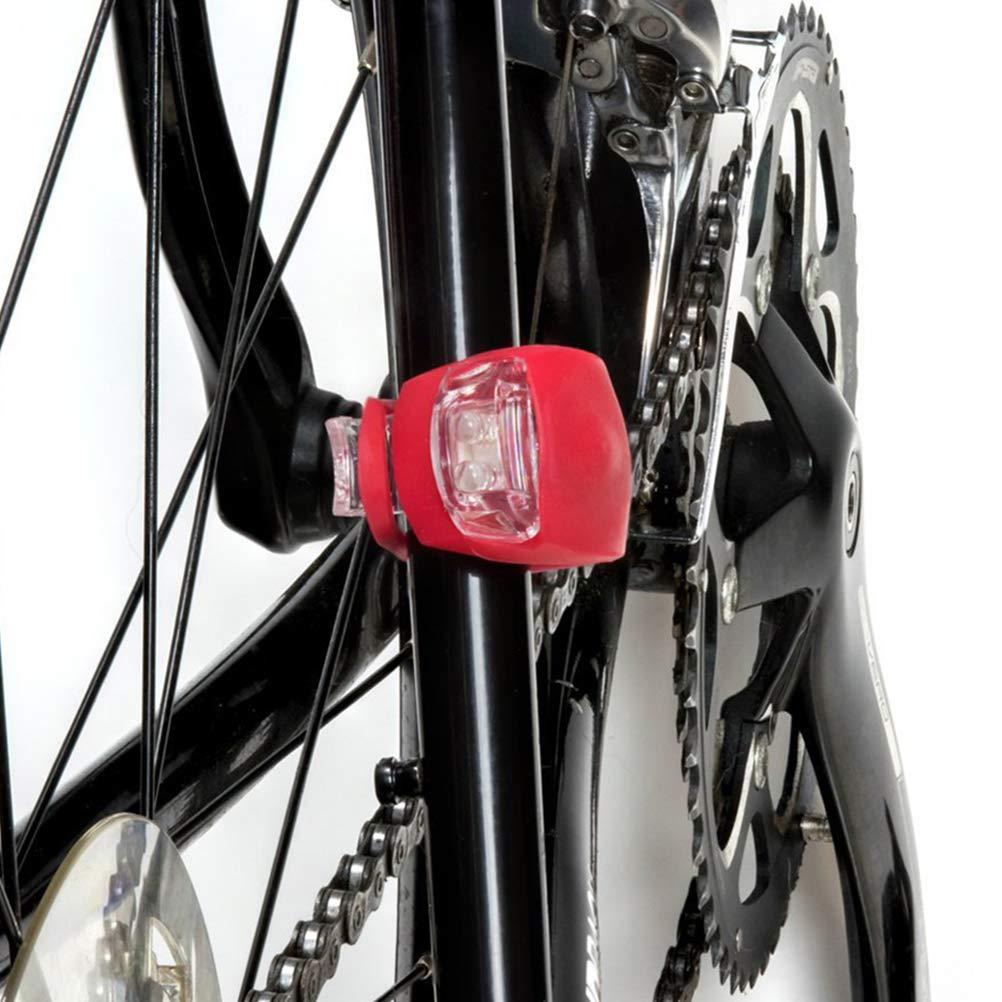 2 Blancos y 2 Rojos 4 Piezas de Silicona LED Luz de Bicicleta Delantera y Trasera Brillante Accesorios de Bicicleta Impermeable VORCOOL Luz Trasera de Bicicleta
