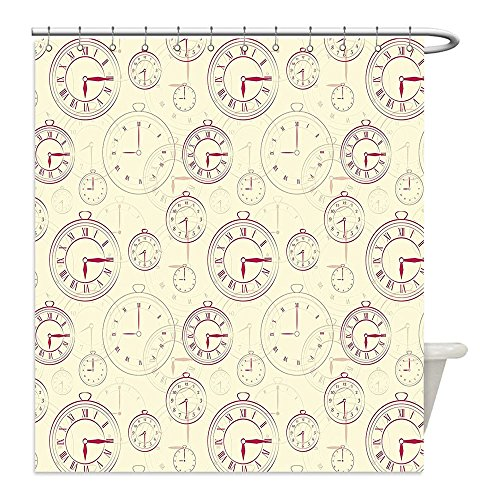 Liguo88 Custom Waterproof Bathroom Shower Curtain Polyester Clock Decor Vintage Watches with Roman Digits Wallpaper Pattern Decorative Illustration Cream Maroon Decorative bathroom Lg Wood Clock