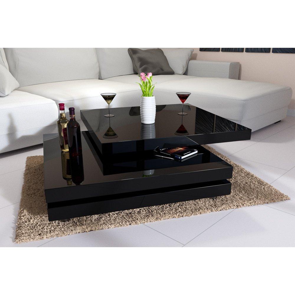Deuba Couchtisch Wohnzimmertisch Hochglanz Beistelltisch Tisch Sofatisch Tischplatte 360° drehbar 60 x 60 cm - Farbe Schwarz