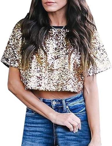 Camisas Mujer Fiesta Lentejuelas Verano Sexy Blusas de Lentejuelas Sueltas Sexy de Mujer con Brillo Camisas Casuales Top Camisola de Mujer Camiseta Mujer Elegantes: Amazon.es: Ropa y accesorios