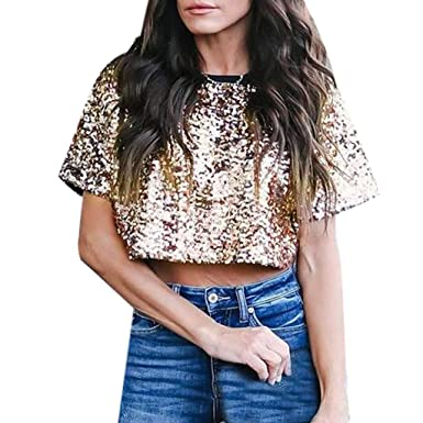 40e6b4b780a0cc Amazon.com: HIKO23 Womens Sparkle & Shine Glitter Sequin Embellished Crop  Top Casual Loose Short Sleeve Round Neck T-Shirt: Clothing