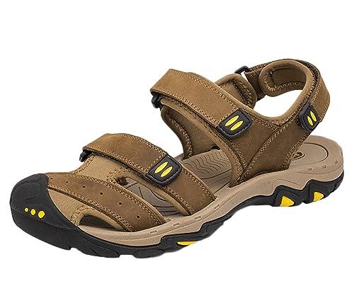 SK Studio Pelle Sandali Uomo Escursionismo Chiusi Trekking Sandalo Sportivi  Scarpe Suola Alta  Amazon.it  Scarpe e borse 05935084a0c