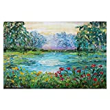 DiaNoche Woven Area Rugs, Kitchen Mats, Bath Mats by Karen Tarlton Meditation Pond Small 2x3 Ft