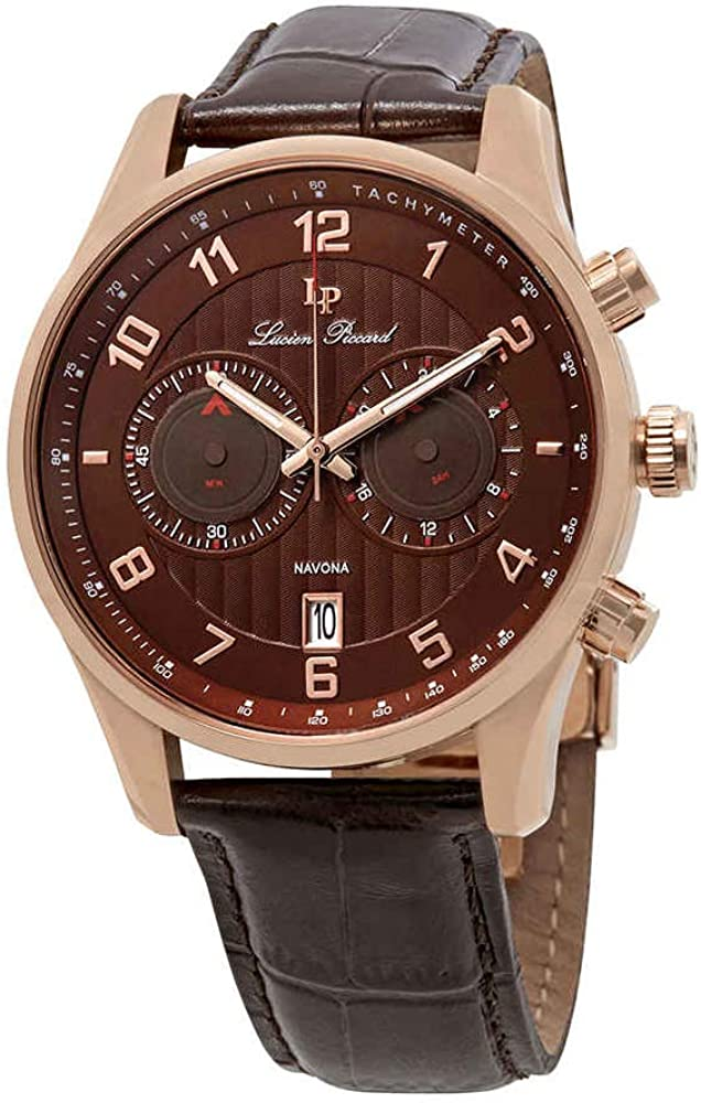 Lucien Piccard Men s LP-11187-RG-04-BRW Navona Analog Display Quartz Brown Watch