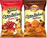 Cheetos Oven Baked Flamin' Hot & Lays Oven Baked Barbecue Less Fat More Flavor Snack Care Package for College, Military, Sports (Pack Of 2)