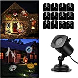 SOLLED Light Projector, Christmas LED Landscape Projection with 12 Patterns for Outdoor, Garden, Holiday, Party
