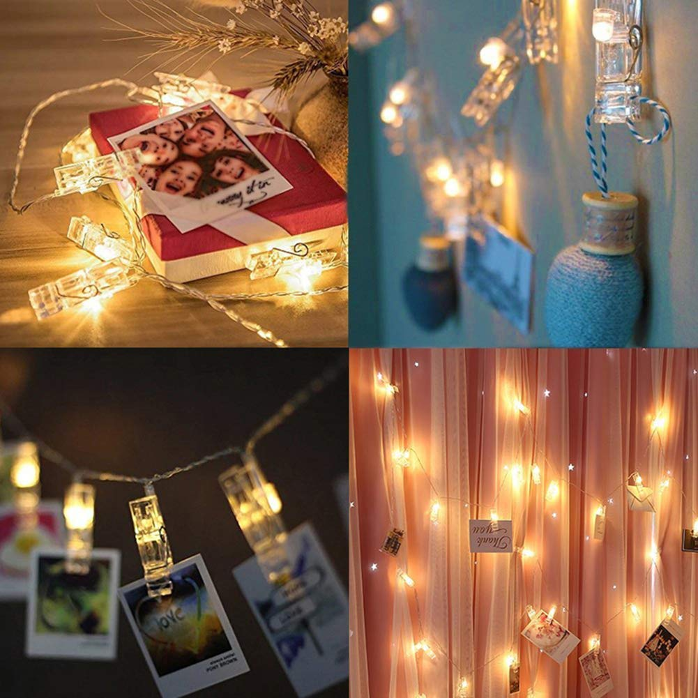 2 pack Halloween Decoration 40 LED Photo Clips String Lights Battery Operated Waterproof 20ft Fairy Light Long Lasting Indoor Girls Bedroom Hang Picture Outdoor Wedding Party Christmas Birthday Gift by Symfury (Image #8)