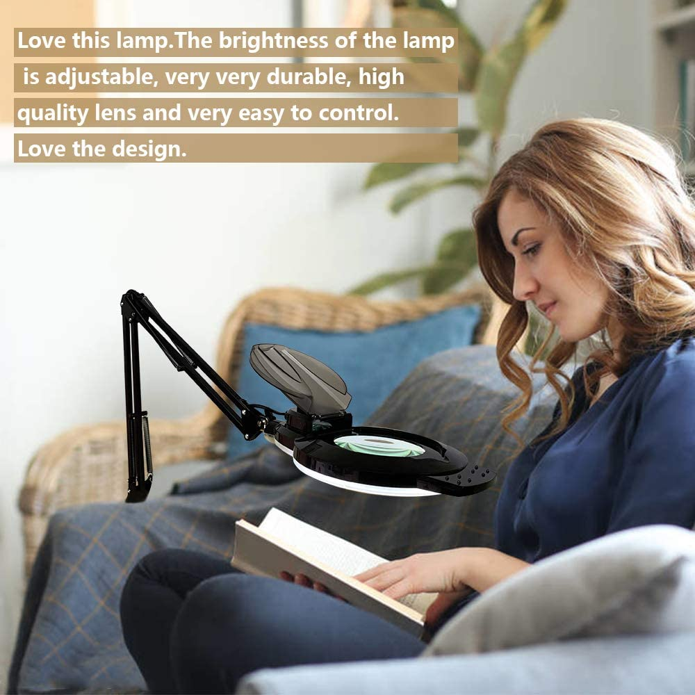 LED Magnifying Lamp with Clamp Adjustable Swivel Arm Magnifier lamp for Desk Table Craft or Workbench-Black Addie 1,200 Lumens Dimmable Super Bright Daylight 5-Diopter Magnifying Glass with Light