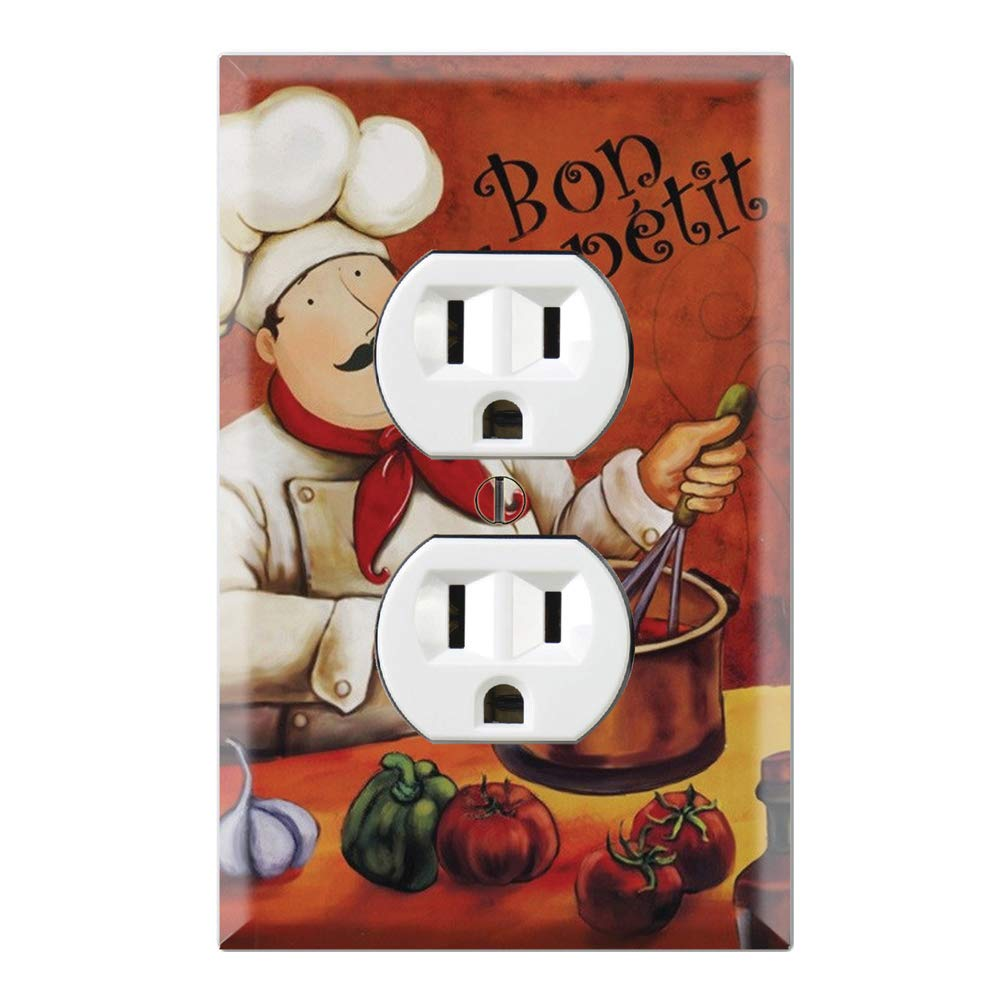 Graphics Wallplates - Bon Appetite Fat Chef Kitchen Guy- Duplex Outlet Wall Plate Cover