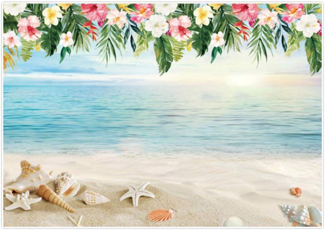 DaShan 8x5ft Tropical Beach Backdrop Ocean Sea Wedding Hawaiian Seaside Birthday Sandbeach Summer Tropical Luau Party Photography Background Blue Sky Bridal Shower Nautical Baby Photo Prop