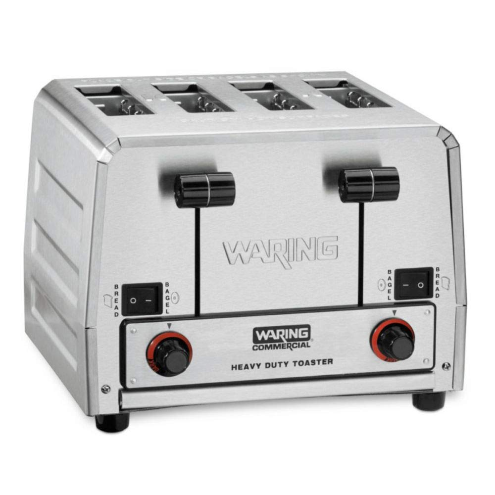 Waring Commercial WCT855 240V Heavy Duty Bread and Bagel Toaster, Silver