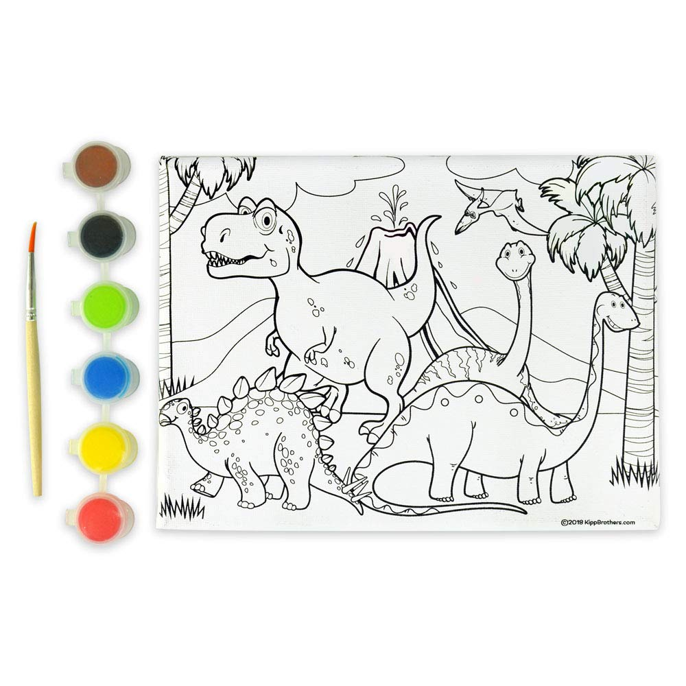 Kipp Brothers 4-Pack DIY Paint & Canvas Set - Dinosaur by Kipp Brothers