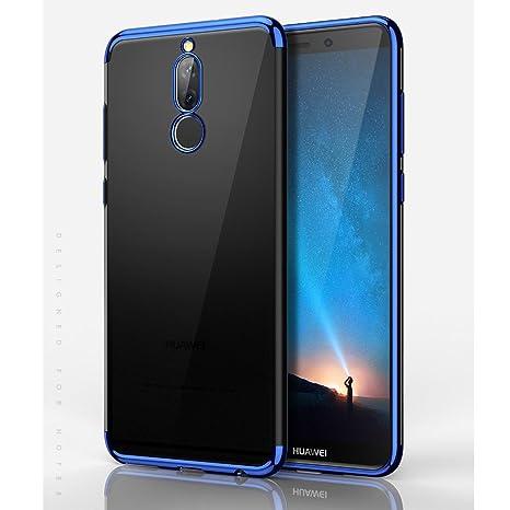 BLUGUL Funda Huawei Mate 10 Lite, Electroplating Coloring, Ultra Fina, Transparente Suave TPU Silicona Cover Claro Case para Mate 10 Lite Azul