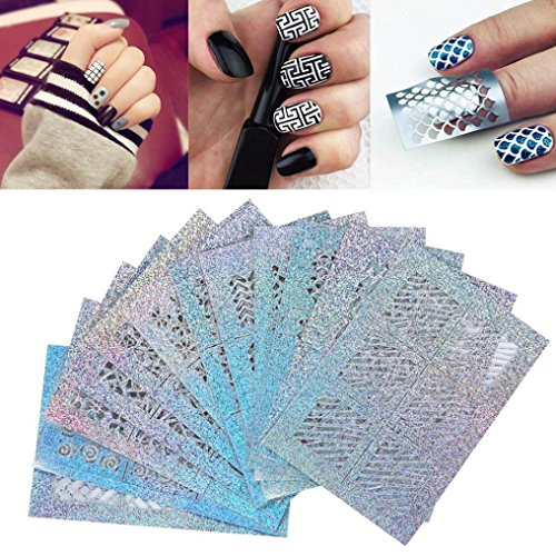DMZing Nail Art, 24 Sheets New Nail Hollow Irregular Grid Stencil Reusable Manicure Stickers for $<!--$4.99-->