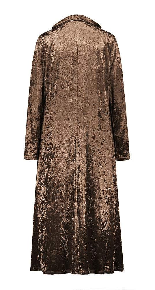 ezShe Womens Velvet Lapel Collar Open Front Long Cardigan Trench Coat