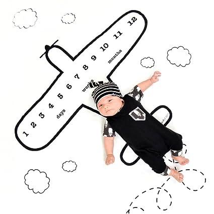 Bebé recién nacido fotografía Props mantas con mensual de impresión de muselina telón de fondo gráfico de crecimiento para bebé Niños Fotografía Props