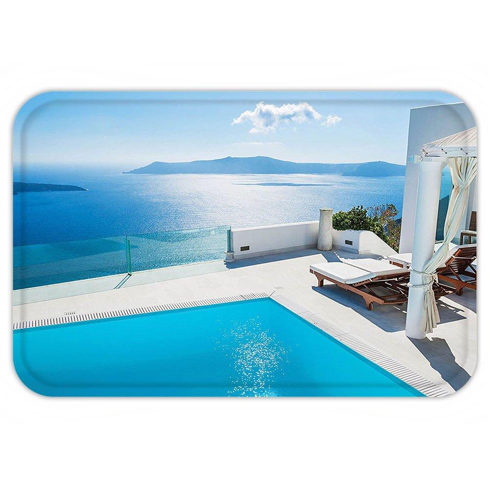 VROSELV Custom Door MatHouse Decor Collection Architecture On Santorini Island Greece. Swimming Pool blue white Hotel Sea View