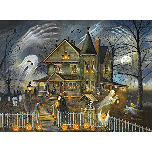 300 Large Piece Jigsaw Puzzle for Adults - Haunted Haven -  Halloween Jack-o-lanterns Jigsaw by Artist Ruane Manning