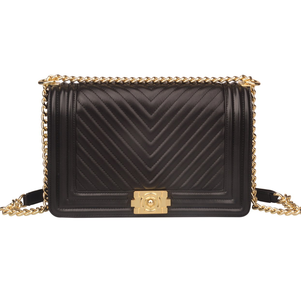 db76f289e104 Ainifeel Women s Genuine Leather Quilted Chain Strap Handbags Hobo Bag  Crossbody (Medium
