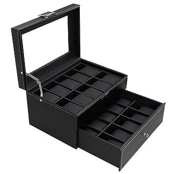 Bastuo 20 Watch Box Watch Display Organizer Carbon Fiber Leather Watch Storage Case Black With Glass Top