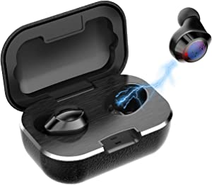True Wireless Earbuds, Touch Control V5.0 Wireless Bluetooth Earphones with Deep Bass, Latest Leather Waterproof TWS Stereo Headphones in-Ear for Home Workout, Running, Gym(Black)