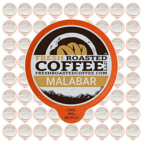 (Fresh Roasted Coffee LLC, Indian Monsooned Malabar Coffee Pods, Light Roast, Capsules Compatible with 1.0 & 2.0 Single-Serve Brewers, 72 Count)