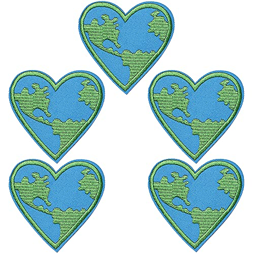TACVEL Love Earth, Heart Embroidered DIY Sew on / Iron on Patches for Kids Clothing, Vest, Jackets, Backpacks, Caps, Jeans to Repair Holes / Logo, Light Blue