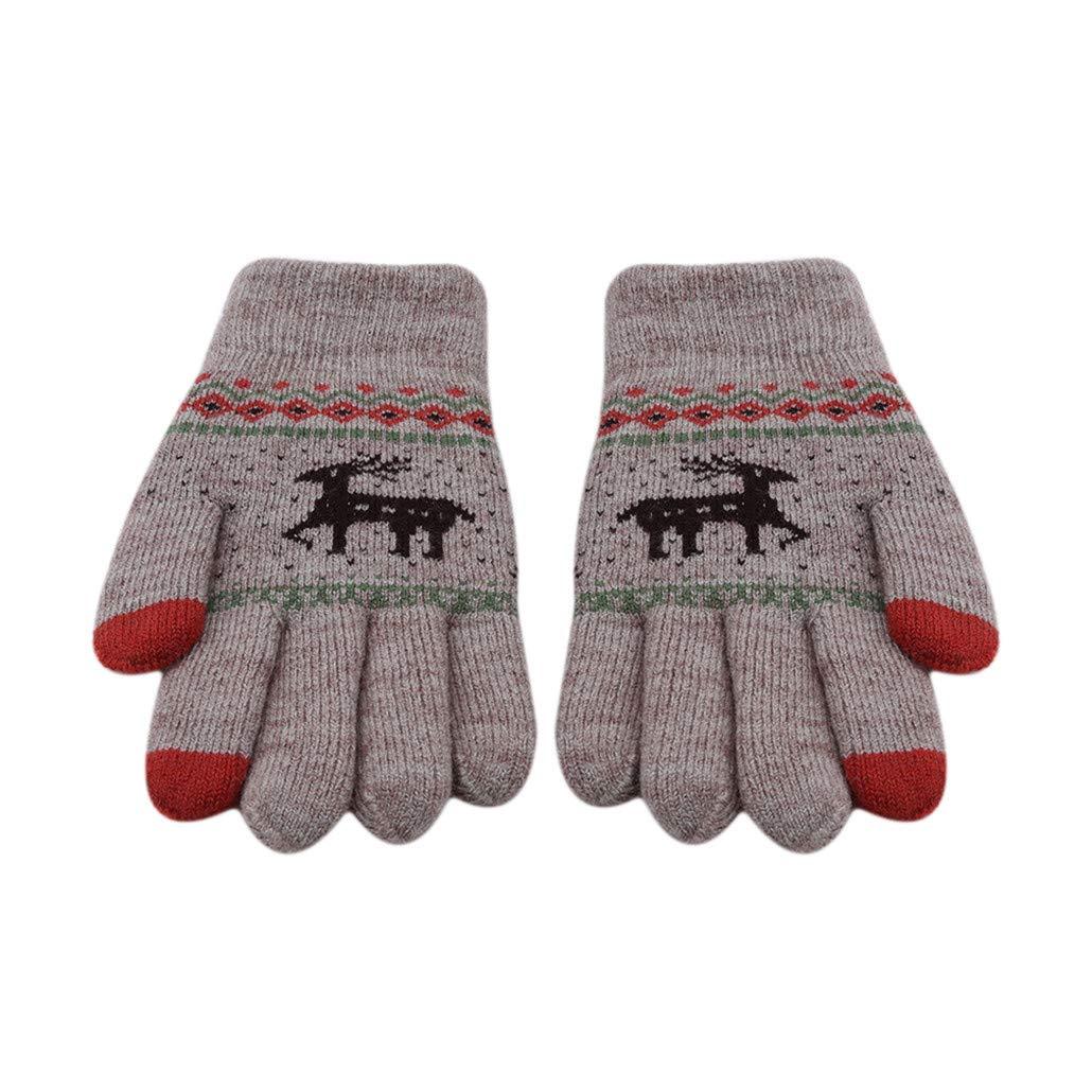 NYAOLE Damen Mädchen Winter Warme Handschuhe mit Smart Touchscreen Technologie REH Muster Sport Lauf Reithandschuhe, Grau