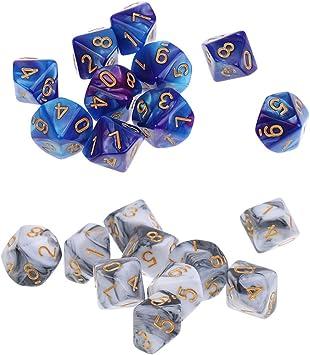 IPOTCH 20x Dados Poliédricos D10 Dados de Gemas Acrílico Juego de Mesa - Blanco Gris y Azul Morado: Amazon.es: Juguetes y juegos