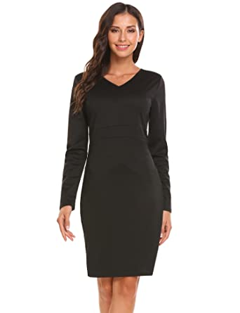 Zeagoo Women S V Neck Long Sleeve Slim Bodycon Pencil Dress Wear To