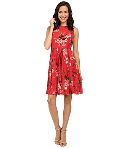 Adrianna Papell Womens Printed Pleated Fit and Flare Dress
