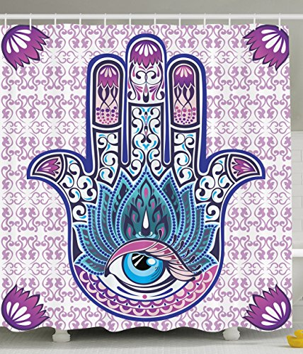 Ornaments Purple Hamsa Decor Kabbalah Judaica Evil Eye Lucky Charm Chai Protection Stone Mystic Home Blessing Hand of Fatima Blue Shower Curtain (Eyes Shower Curtain)