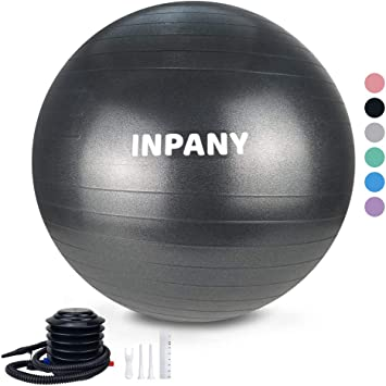 Inpany Exercise Ball(45-85cm) - Extra Thick Yoga Ball Chair, Anti-Burst Stability Ball Supports 2200lbs,Birthing Ball with Quick Pump for Office & ...