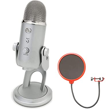 Blue Microphones Yeti Ultimate USB Microphone Silver (YETI) with Universal Pop Filter Microphone Wind Screen with Mic Stand Clip