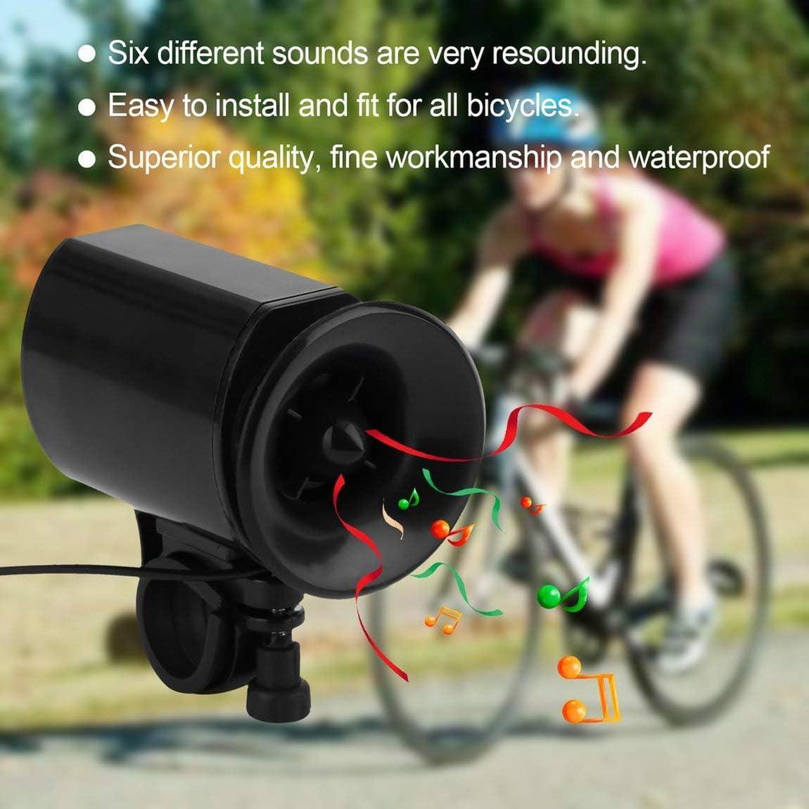 Color: Negro 73JohnPol 6 Sonidos Ultra-Ruidoso Ciclismo el/éctrico Cuerno de Campana Bicicleta de Bicicleta Electr/ónica Ambiental Campana Bocina Fuerte Alarma Fuerte Cuerno de Bicicleta