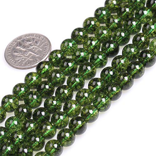 (6mm Green Peridot Beads for Jewelry Making Semi Precious Gemstone Round Dyed Color Strand 15