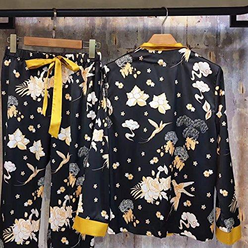 Pijama Set, Otoño De Moda Europea Y Americana, Temperamento, Aves De Color, Estampado De Manga Larga, Pantalones, Ropa De Casa En Casa,Black,F Azul