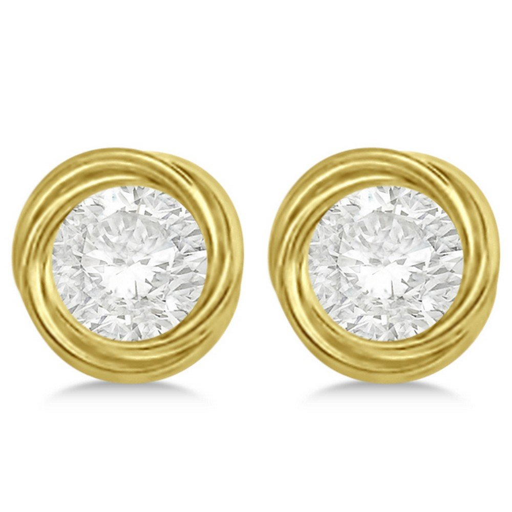 Women's Twisted Earring Jackets for Pearl, Diamond or Gemstone Studs up to 10.50mm 14K Yellow Gold