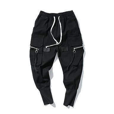 48c34b2e Welcometoo Streetwear Hip Hop Multi-Pocket Black Cargo Pants Men's Zipper  Harem Pants Joggers Sweatpants Trousers at Amazon Men's Clothing store: