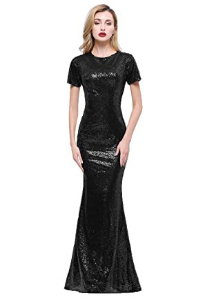 d3fa32455 Honey Qiao Sparkly Black Bridesmaid Dresses Long High Back Evening Party  Dress