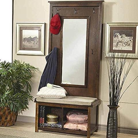 1PerfectChoice Hallway Entryway Hall Tree Bench Coat Rack Storage Shoe Shelf Mirror Dark Walnut - Mirror Coat Hooks