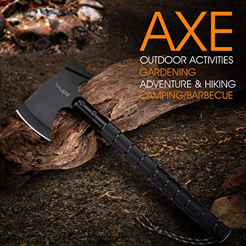 Yes4All Camping Axe Set Kit with Sheath – Survival Axe/Camping Hatchet and Knife Kit – Portable Folding Multi-Tool for Outdoor Adventure (Black) by Yes4All (Image #5)