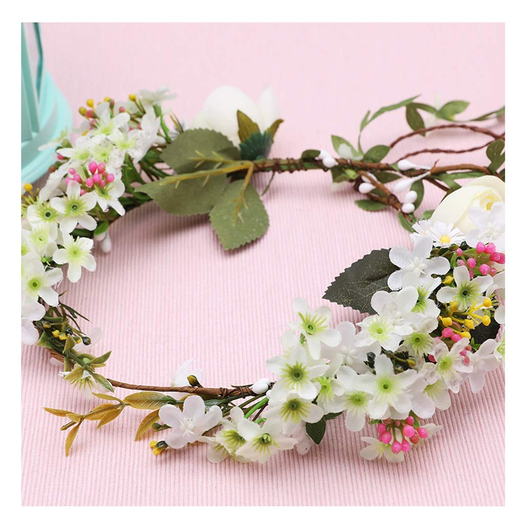 Wreath Flower Headdress Rattan Hair Band Bride Wedding Hair Accessories Korean Style Headband Accessories (Color : B)