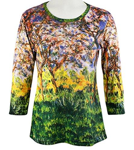 Breeke & Company - Forest, 3/4 Sleeve, Scoop Neck, Hand Silk Screened Art Top