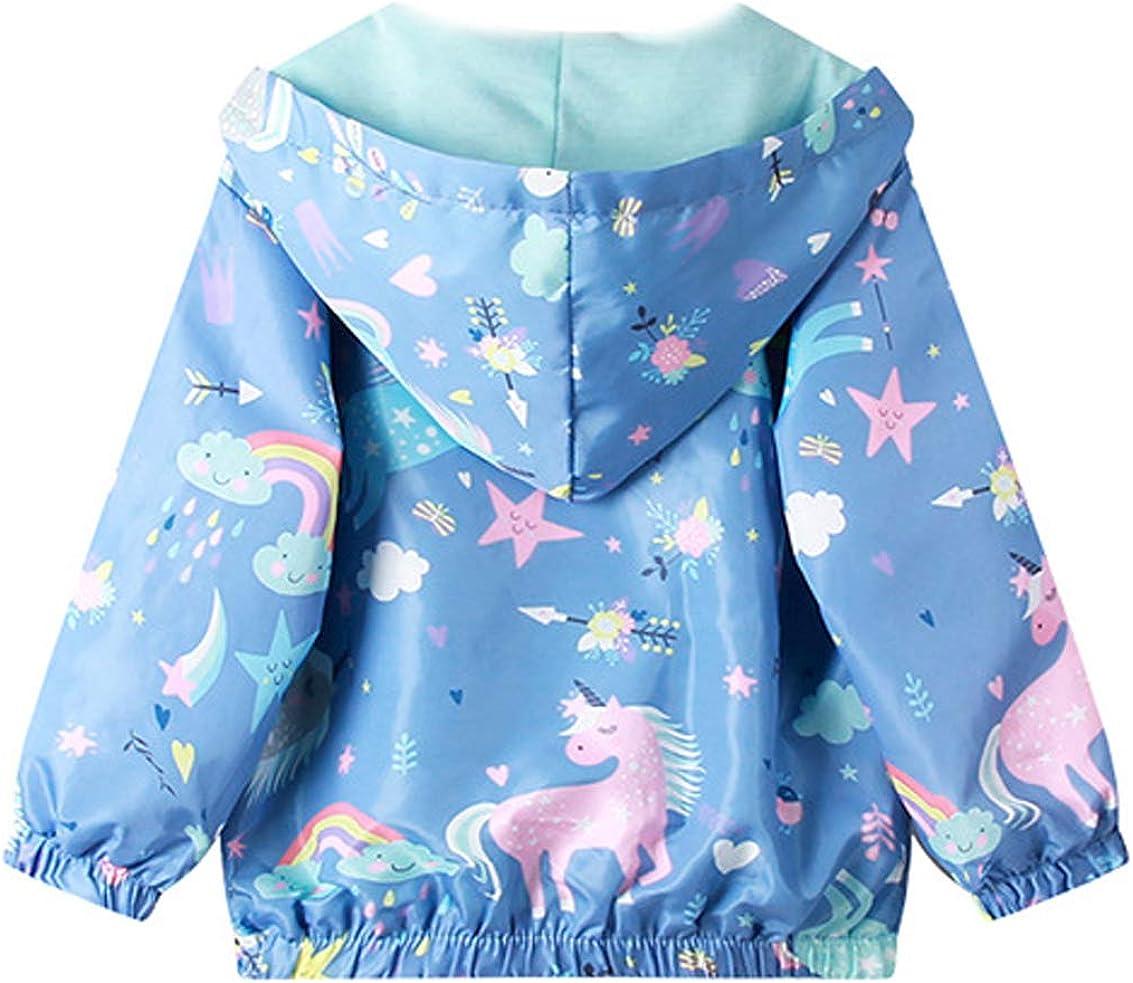 Coralup Unisex Toddler Kids Dinosaur Hooded Jackets Baby Boys Girls Unicorn Jacket Waterproof Windbreaker Thin Coats MultiColorful,12M-8Years
