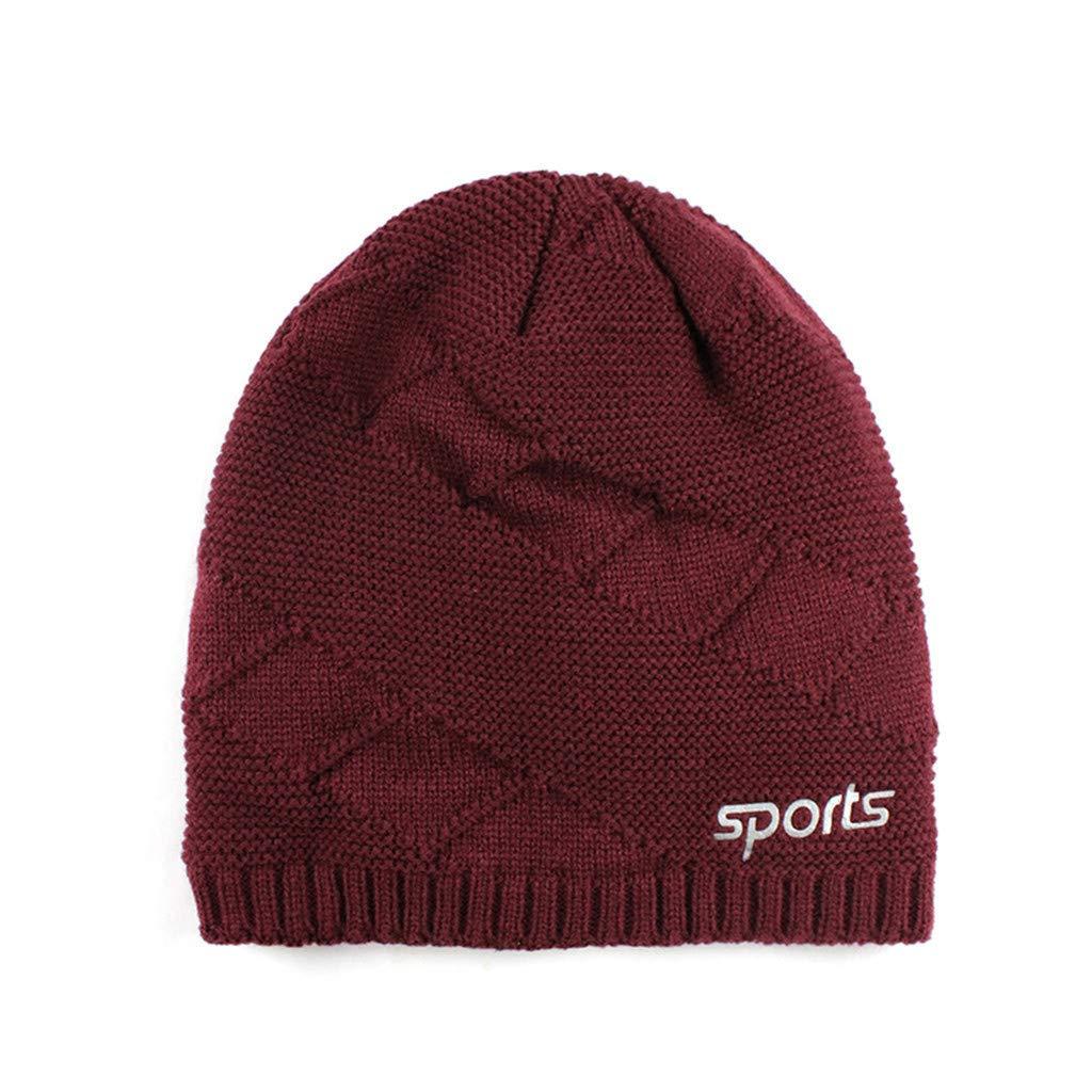 Kolila L/ässige Unisex-M/ütze Winter Warme Strickm/ütze Ohrenw/ärmer M/ütze Skim/ütze Baggy Stretchy Slouchy Skull Hat Pile Cap Hedging Hat