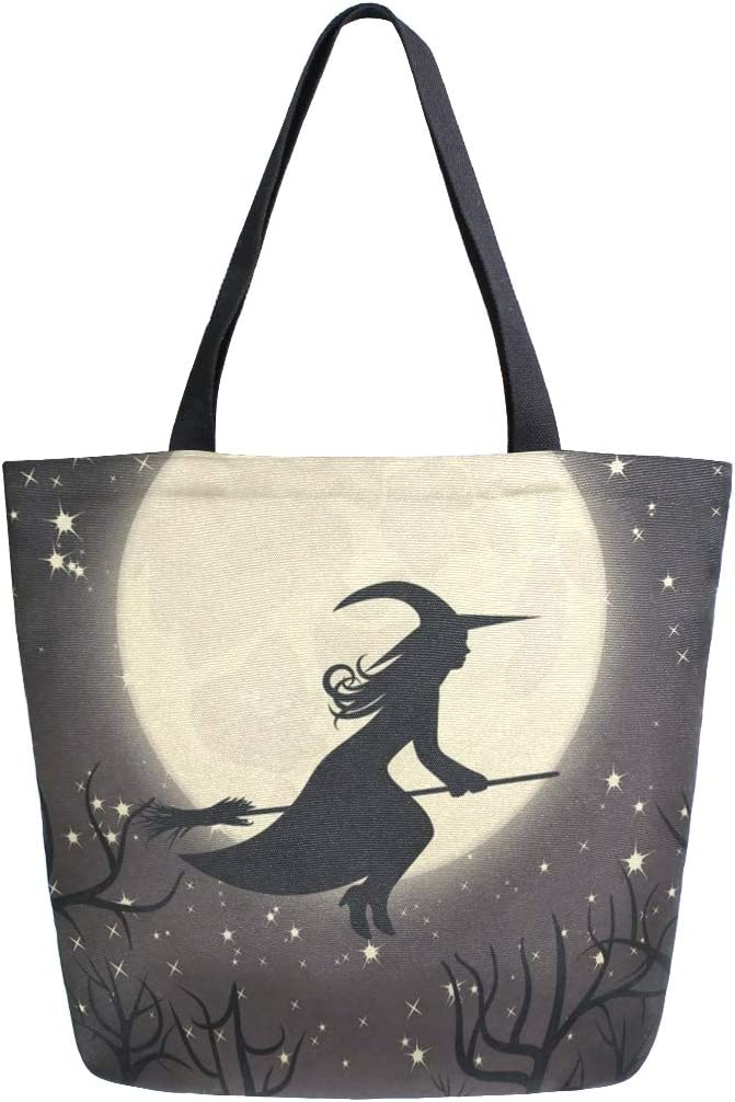 Womens Canvas Tote Bag Witch With A Broom Large Shopping Bag Shoulder Handbag